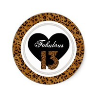 Leopard: Fabulous 13 Birthday Stickers from Zazzle.com
