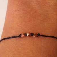 Rose Gold Trinity Bracelet by ALEPHTAVJEWELRY on Etsy
