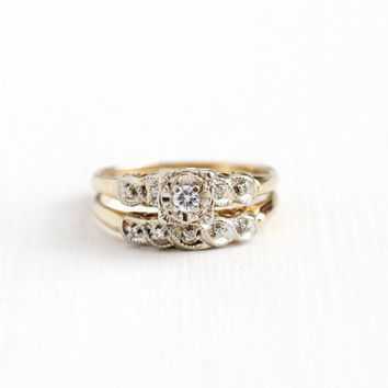 Vintage 14k Yellow & White Gold Diamond Engagement Ring and Wedding Band Set - Mid Century 1950s Size 8 1/4 Fine Bridal Stacking Jewelry