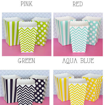 Popcorn Boxes - Stripe Polka Dot or Chevron for Candy Bar - Wedding Favors Party Favor - Aqua Blue Black Green Pink Red Yellow Gold Silver