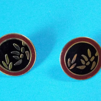 Vintage Laurel Burch Post Earrings Leaves Red Black Plate Cloisonné Signed