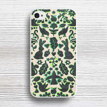 Two Rabbits - folk art pattern in grey, lime green & mint case iPhone 4s 5s 5c 6s 6 Plus Cases, Samsung Case, iPod 4 5 6 case, HTC case, Sony Xperia case, LG case, Nexus case, iPad case