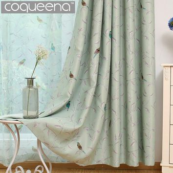 Traditional Turquoise Birds Thermal Insulated Blackout Curtain for Living Room Bedroom Children Room Princess Baby Room, 1 Panel