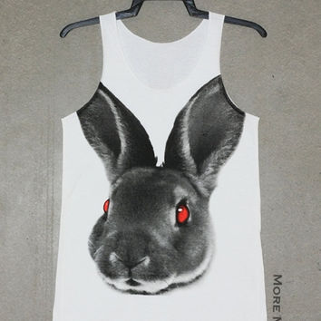 Rabbit Face Animal Shirt White Tank Top Singlet Vest Tunic Sleeveless Women Top Tee Indie Art Photo Rock T-Shirt Size XS-S