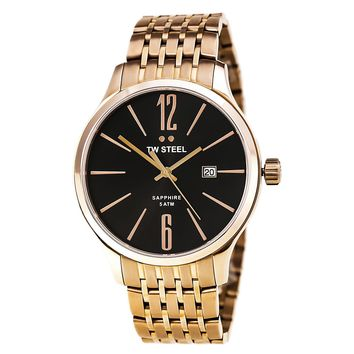 TW Steel TW1308 Men's Slim Line Quartz Black Dial Rose Gold Steel Bracelet Watch