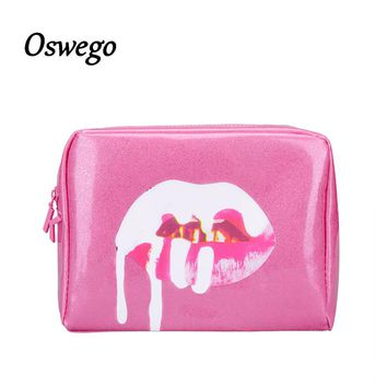Fashion Bling Bling Pink Version Lip PU Leather Toiletries Bag Zipper Storage Pouch Portable Travel Cosmetic Bag Kosmetikum