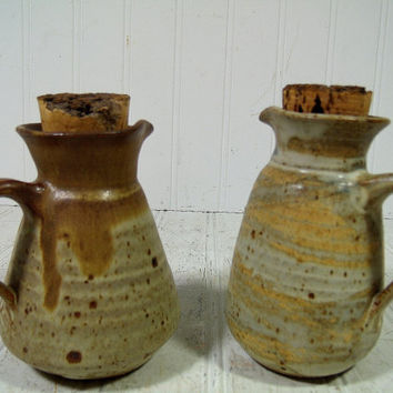 Vintage Pottery Cruet Set of 2 Pitchers Signed Phinney - Mid Century Hand Crafted Pottery Pair for Oil & Vinegar with Natural Cork Stoppers