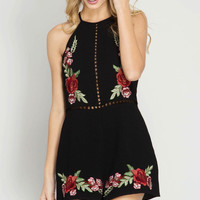 Halter Floral Embroidery Romper