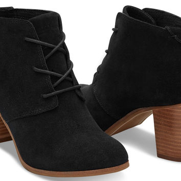 BLACK SUEDE WOMEN'S LUNATA LACE-UP BOOTIES