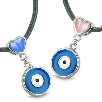 Amulets Evil Eye Charms Reversible Lucky Love Couple Best Friends Blue Pink Cats Eye Necklaces