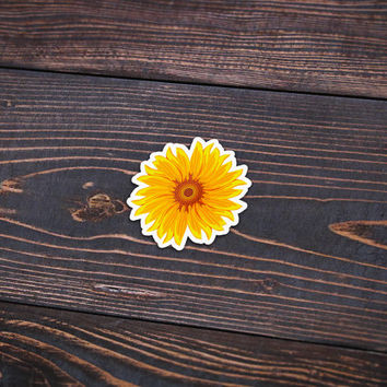 "Sunflower - Pack Of 3 - 4"" Wide - Personalized Sticker - Die Cut"