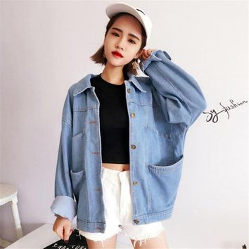 High quality 2017 Autumn Korean Women's coat new retro Solid color loose long-sleeved Harajuku Vadim denim Bomber Jacket