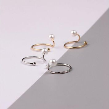 ONETOW Simple style pearl u-shaped opening ring, snake personality ring