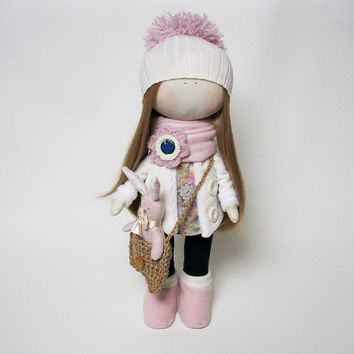 Handmade cloth doll with pink bunny soft toy, fabric doll, textile doll gift for girl
