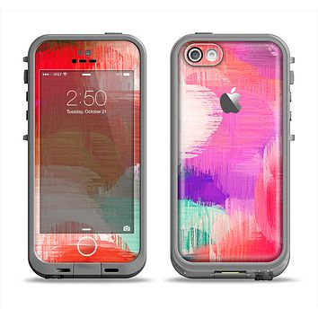 The Faded Neon Painted Hearts Apple iPhone 5c LifeProof Fre Case Skin Set