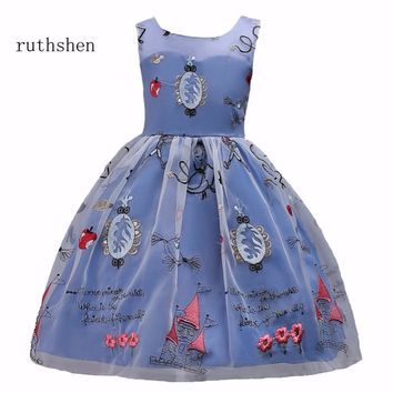 ruthshen Floor Length 2018 In Stock Real Photo Princess Colorful A Line Flower Girl Dresses Sleeveless Prints  Vestido Daminha