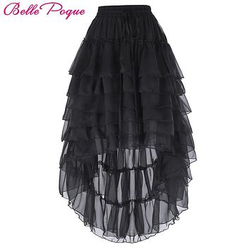 Black Multilayer Lace Victorian Burlesque Costumes Gothic Steampunk Clothing Ruffled Chiffon Skirt For Women Matching Corset