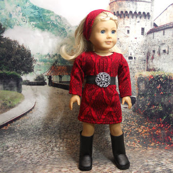 """Red Knit Dress With Headband and Belt for 18"""" American Girl Dolls"""