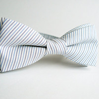 Bow Tie for Men by BartekDesign: pre tied pastel blue gray white stripes grooms wedding chic light