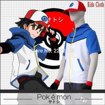 New 2018 Arrival OHCOS Kids  Ash Ketchum Trainer Costume Cosplay Clothes Polyester Children Boys Girls Halloween CostumeKawaii Pokemon go  AT_89_9