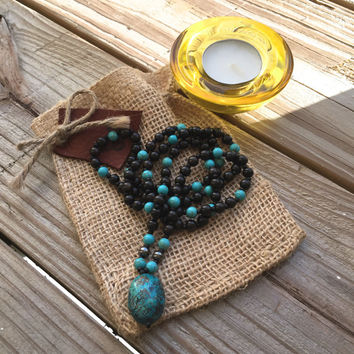 Tribal Necklace, Ethnic Jewelry, Mala Beads, Bohemian Jewelry, Yoga Necklace, Turquoise Necklace, Hippie Jewelry