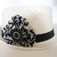 White Fedora Packable Hat with Black and White  Shabby Chiffon  Flower and a Matching Black and Rhinestone Pendant Accent
