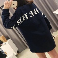 """Burberry"" Women Casual Fashion Letter Print Long Sleeve Pullover Sweater Loose Tops"
