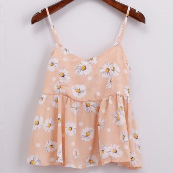 Floral Printed Spaghetti Strap Chiffon Cami Tank Top in Orange