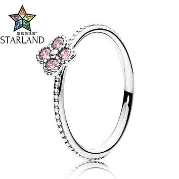 Starland Fine Detail 925 Sterling Silver Finger Rings Romantic Flower Four Leaf Clover Pink CZ Ring For Women Wedding Jewelry