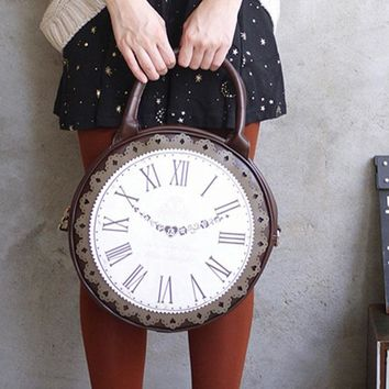 Wobag 2018 Fashion Vintage Round Clock Designer Bag Japan Lolita Style 3 Ways Shoulder Bag Lady Girls Alice Handbag Back pack