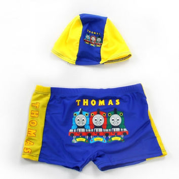 Boys Thomas The Tank Engine Swimming Trunk and Swim Cap-Kids