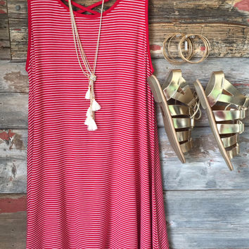 New in Town Striped Tank Dress: Red