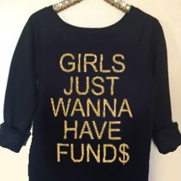 Girls Just Wanna Have Funds - Ruffles with Love - Off the Shoulder Sweatshirt - Womens Clothing - RWL