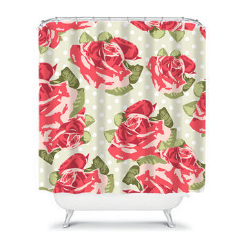 ROSE Flower Shower Curtain Polka Dot Red Green Preppy Floral Pattern Girl Bathroom Bath Polyester Made in the USA