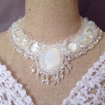 ON SALE Bead Embroidered Collar - Opalite Cabachon