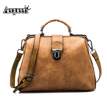 AEQUEEN Nubuck Leather Doctor Handbag Women Shoulder Bag Plaid Pu Messenger Bag Lady Totes Small Crossbody Bolsos Brand Designer