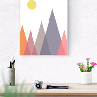 Geometric Mountain Printable, 8x10, 24x30 Geometric Triangle Art, Nursery Decor, Abstract Geometric, Scandinavian Print, Triangles Artwork,