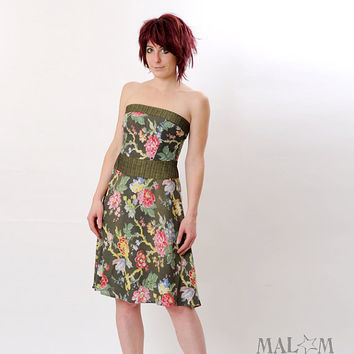 Green Strapless Dress - Vintage floral green bustier dress -  Size S-M
