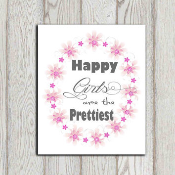 Happy girls are the prettiest print Audrey Hepburn quote Girls quote Pink gray white Girls bedroom decor Wall art Flower frame DOWNLOAD
