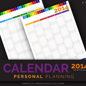 2014 Calendar, Wall Desk Year Calendar, Year Calendar // Colorful, Printable PDF, Planner Organizer Binder DIY // Household PDF Printables