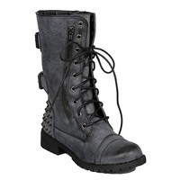 Distressed Grey Black Military Lace Up Studded Combat Boots