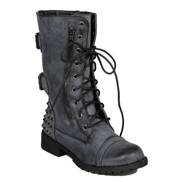 Women's Distressed Black Military Lace Up Combat Boots W/ Studs
