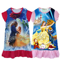 2017 New EABoutique summer style 100% cotton Designs children Beauty and the beast dress Cartoon princess girl print dress 3-10Y