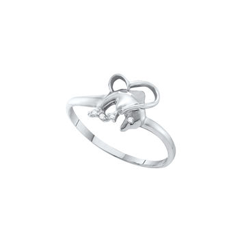 10kt White Gold Womens Round Diamond-accent Dolphin Heart Ring .02 Cttw 55037