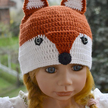 Crochet fox cap, crocheted kitsune hat, animal beanie for babies, toddlers, kids hat , teens hat, adults cap, unisex, animal beanie, fox cap