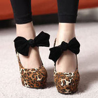 OL Womens Wedding Red Leopard Bow High Heels Platform Round Toe Pumps