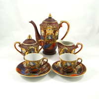 Vintage Satsuma Moriage Dragonware Tea Set from Japan