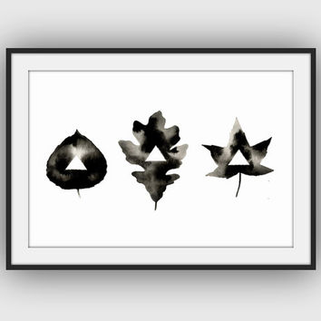 Geometric Leaves - Original Watercolor