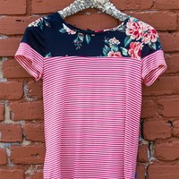 Love The Game Stripe and Flower Top - Navy