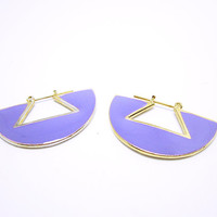 VINTAGE EARRINGS Mauve Semi Circle Shaped Earrings Mauve Enameled Earrings With Gold Trim Pierced Ear Wear Unique Semi Circle Style